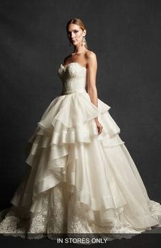 Isabelle Armstrong 'Ingrid' Strapless Lace & Tiered Organza Ballgown (In Stores Only) available at #Nordstrom