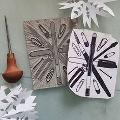 Trying to something for the I ended up with an supply . Make Art, How To Make, Linoprint, Snowflakes, Holidays, Design, Holidays Events, Design Comics, Vacation