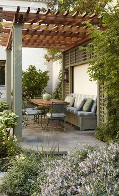 Pergola en bois: qu'est-ce que c'est? Comment et modèles [FOTOS]- Pergolado De Madeira: O Que É? Como Fazer e Modelos [FOTOS] Pergola en bois: qu'est-ce que c'est? Comment et modèles [PHOTOS] - Outdoor Areas, Outdoor Rooms, Outdoor Living, Outdoor Decor, Small Backyard Landscaping, Backyard Pergola, Backyard Designs, Pergola Design, Patio Design