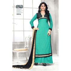 Eid Special Designer Beautiful Sea Green Embroidered Palazzo Suit-1004(IB-753)Karishma