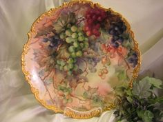 """Breathtaking Antique Limoges France Hand Painted Still Life Masterpiece Luscious Grapes 15 5/8\"""" Wall Plaque Charger Highly Collectible China Painting Artwork Heirloom Treasure Circa 1900"""