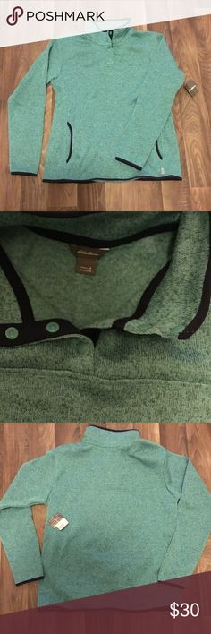 NWT! Eddie Bauer women's snap neck pullover! Brand new and perfect for the winter months. Ladies pullover with snap neck design. Pockets. 100% Polyester. Very warm and comfortable! Cool Minty color Eddie Bauer Tops