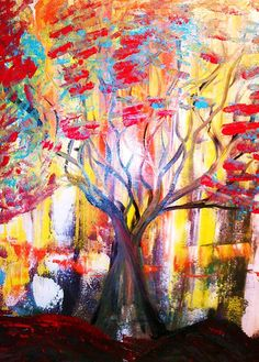 "Abstract Trees Painting Colorfu""""No Rules"""""