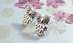 Owl Earrings, Stud Post Woodland Creature Bird Silver Harry Potter