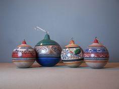 vintage mexican burnished tonala pottery christmas ornaments.