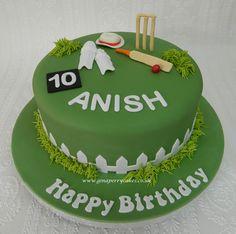 65 Ideas Birthday Cake For Husband Men Fondant Cricket Birthday Cake, Cricket Theme Cake, 10 Birthday Cake, Birthday Cake For Husband, 40th Cake, Birthday Ideas, Happy Birthday, Birthday Boys, Birthday Recipes