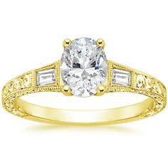 Currently 99% set on this one, but with a colored side stone?? Not sure. 18K Yellow Gold Regalia Diamond Ring