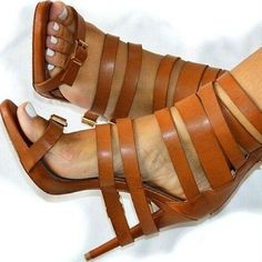 PU Belt Buckle Stiletto Heel Peep-toe Zipper High Heel Dress Sandals sold by Shoes Party. Hot Shoes, Shoes Heels, Pumps, Jimmy Choo, Giuseppe Zanotti Heels, Brown Heels, Brown Sandals, Leather High Heels, Tan Leather