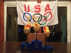 Olympics Party centerpiece! Wine glasses + tissue paper