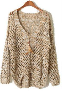 Khaki V Neck Long Sleeve Sheer Hollow Sweater - Sheinside.com