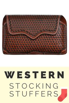 Western Tan Basketweave Horizontal Cell Phone Holder for iPhone 6+