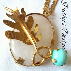 Hand made genuine stone Agata, white and turquoise. Gold plated. Special design. One of a kind. Combine with a 20 inch chain gold plated. by PathysDesign on Etsy