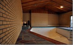 Indoor pool in a time capsule mid-century modern home.