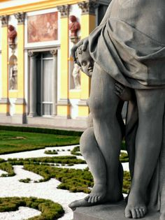 Fragment of sandstone garden statue of Venus and Cupid by Johann Albrecht Siegwitz, the statue was created between 1729-1734 for Carl Christian von Kospoth to adorn the garden of his residence in Brzezinka (Briese), in 1949 it was moved to Wilanów