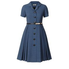 Orla Kiely: Classic shirt dress with full skirt in all over polka dot flock. The dress has a rever collar and button through at centre front. Dress comes with detachable 100% leather belt, which is reversible with gold D rings to fasten. Fully lined.        Length: 35.4in