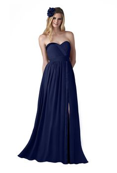 Style 708 Bari Jay Bridesmaid Dress - Strapless Navy Chiffon A-Line Dress with a Sweetheart Neckline and Front Slit $249