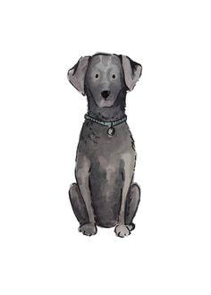 Black Lab Print — Marry Me in Spring Black Labs Dogs, Black Lab Puppies, Corgi Puppies, Black Labrador, Dog Illustration, Character Illustration, Working Cocker, Dog Artwork, Golden Puppy