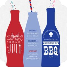 Fun Straw & Bottles 4th of July BBQ Party Invitation by InviteShop.com. #4thofjulypartyideas #4thofjulyinvitations #4thofjulypartyinvitations