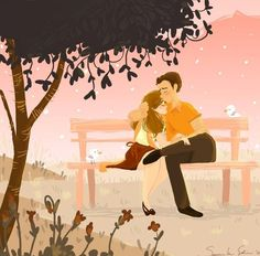 Couple on bench cartoon illustration via www.Facebook/GleamofDreams