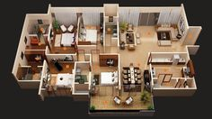 50 Four U201c4u201d Bedroom Apartmenthouse Plans Bedrooms 3D Interior Glamorous  Average Cost To Move