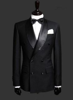 Hot Sale Black Shawl Lapel Double Breasted Business Men Suits 2 Pieces Custom Made Wedding Tuxedo For Men (Jacket+Pant+BowTie) Groom Tuxedo Wedding, Wedding Suits, Wedding Coat, 2017 Wedding, Formal Wedding, Wedding Dinner, Terno Slim Fit, Slim Fit Suits, Mens Fashion Suits