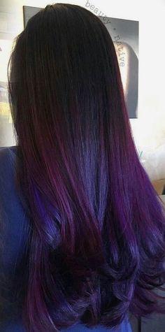 Hair Color Purple, Cool Hair Color, Blue Hair, Black To Purple Hair, Purple Dye, Hair Colors, Hair Highlights, Color Highlights, Hair Dos