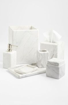 Bathroom Accessories Waterworks Studio 'Luna' White Marble Covered Jar (Online Only) 23 Unexpected Things You Didn't Know Your Bathroom Needed Bathroom Marble Bathroom Accessories, Bath Accessories, Silver Accessories, Decoration Inspiration, Bathroom Inspiration, Decor Ideas, Marble Jar, White Marble Bathrooms, Tile Bathrooms