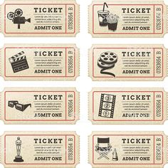 Illustration about Eight hi quality vector cinema tickets. Each ticket is orgenized in 3 layers, separating background from art and text. Illustration of effect, raffle, distressed - 40829978 Deco Theme Cinema, Cinema Party, Cinema Cinema, Journal Stickers, Planner Stickers, Ticket Cinema, Invitation Ticket, Kino Party, Admit One Ticket