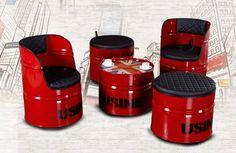 Barrel Furniture, Barrel Chair, Metal Furniture, Gym Design, Cafe Design, House Design, Oil Barrel, Metal Barrel, Industrial Interior Design