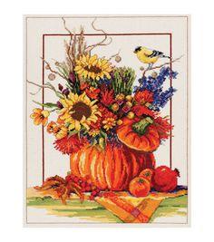 Janlynn Counted Cross Stitch Kit Pumpkin Floral Arrangement