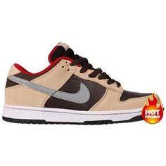 free shipping 42839 6354c Mens Nike SB Dunk Low Dark Chocolate Metallic Silver Red