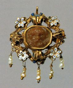 South German (?)    Dress Ornament, early 17th century; cameo: 16th century (?)    Cameo: agate; mount: enameled gold and pearls- Art Institute of Chicago