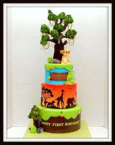 Baby Simba made out of gumpaste..Tree out of fondant and rkt..The animal silhouettes were hand cut while the tree and birds were hand painted..