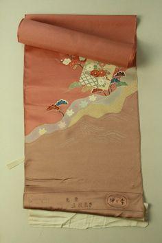 Houmongi tanmono / 辰砂色地 染め分けと色紙取り花木柄 訪問着用反物   #Kimono #Japan http://global.rakuten.com/en/store/aiyama/