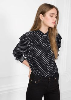 & Other Stories image 2 of Frill Shoulder Blouse in Dots