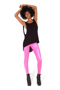 Wet Look Highwaisted Pink Leggings - LIMITED by Black Milk Clothing ($60AUD)