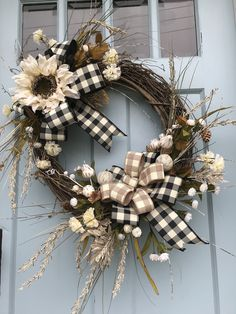 Plaid Pumpkin wreath for front door, Fall Sunflower Farmhouse wreath, Cream Sunflower fall wreath with for front door, farmhouse wreath, by DesignsbyDebbyOhio on Etsy