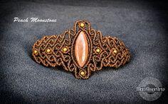 NEW Peach Moonstone macramé braceletIndian by MacrAmorArt on Etsy