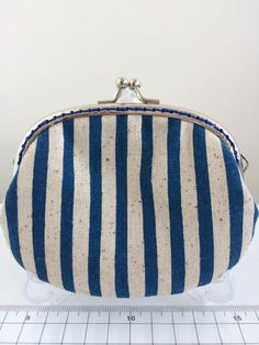 Free Shipping - Handmade Coin Purse in Blue Striped on Etsy, $159.24 HKD