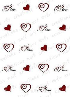 20 Nail Decals Valentine I Heart You Water Slide Art Tortment