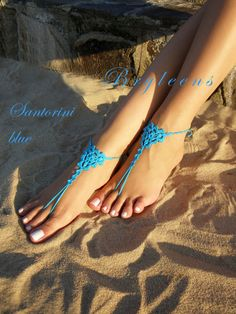 Hey, I found this really awesome Etsy listing at https://www.etsy.com/listing/472055392/santorini-blue-crochet-barefoot-sandals