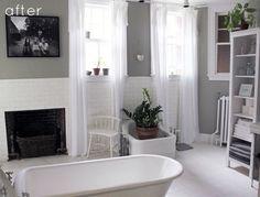 Banheiro: cinza, cortinas, plantas