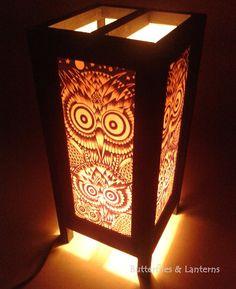 Table lantern, Floor lamp, Bedside lamp ; Owl pattern. For decoration on Bedside, Desk, Dinner Room #Table lantern Pattern style  020
