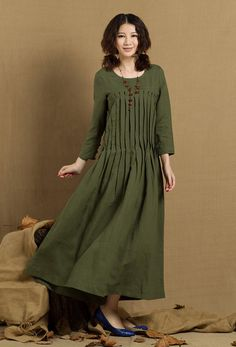 Pleated Linen Dress in green / Long linen winter by camelliatune, $89.00