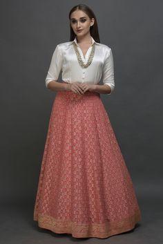 Pink Banarasi Zari Bandhej Skirt With Blouse Long Skirt With Shirt, Skirt And Top Dress, Crop Top Dress, Indian Skirt, Indian Dresses, Indian Outfits, Kids Blouse Designs, Kurta Designs Women, Long Skirt Outfits