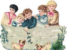 Oblaten Glanzbild scrap die cut  chromo Kind child Hund dog puppy spielen at.picclick.com