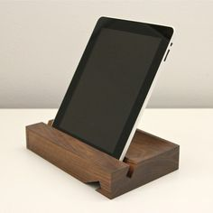 Solid iPad Stand Walnut  by Orange 22  I want one!!