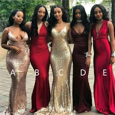Affordable Popular Sexy Mermaid Mismatched Long Wedding Bridesmaid Dresses, WG416