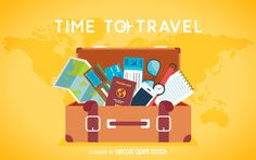 Flat travel backdrop design featuring a luggage with plenty of elements such as passports, maps, and more. This design also says time to travel.