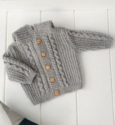 Knit Baby Sweater, Hand Knitted Grey Baby Cardigan, Gray Baby boy Clothes, New Born Baby Gift for Baby Showers, Cable Knit coat Baby Boy Sweater, Knit Baby Sweaters, Boys Sweaters, Cardigan Bebe, Baby Cardigan, Baby Boy Knitting Patterns, Knitting For Kids, Knitted Coat, Boys Hoodies